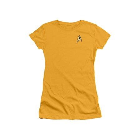 Star Trek TV Series Captain Kirk Command Uniform Juniors Sheer T-Shirt Tee (Star Trek Dress Uniform)