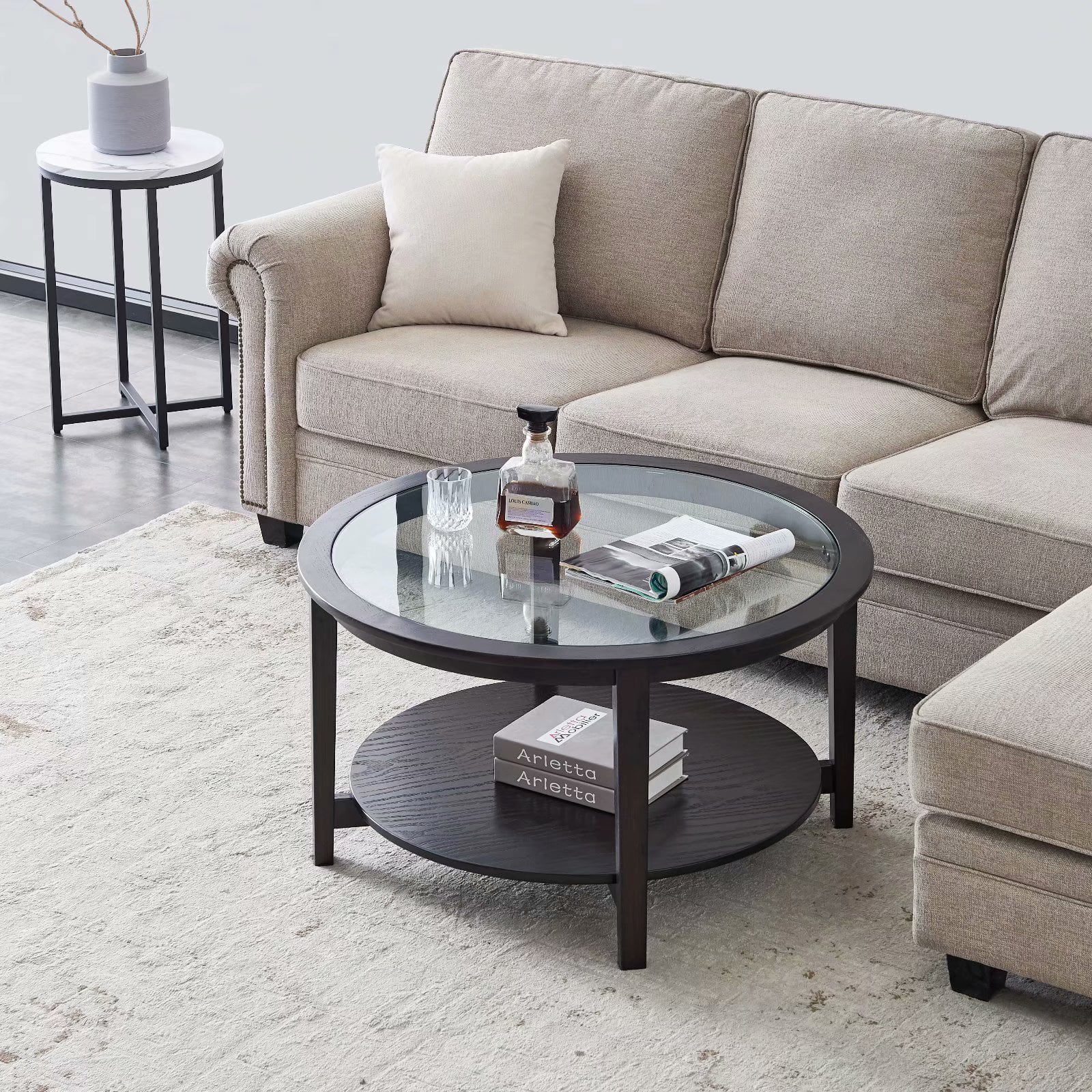 Enkeeo Modern Solid wood round coffee table with tempered ...