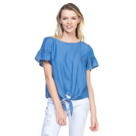 OFASHIONUSA Women's Front Tie Short Ruffle Sleeve Denim Chambray Blouse Shirt Top (Denim Silk Blouse)