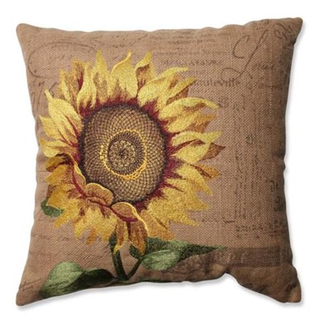 Sunflower Burlap 16.5 in. Throw Pillow