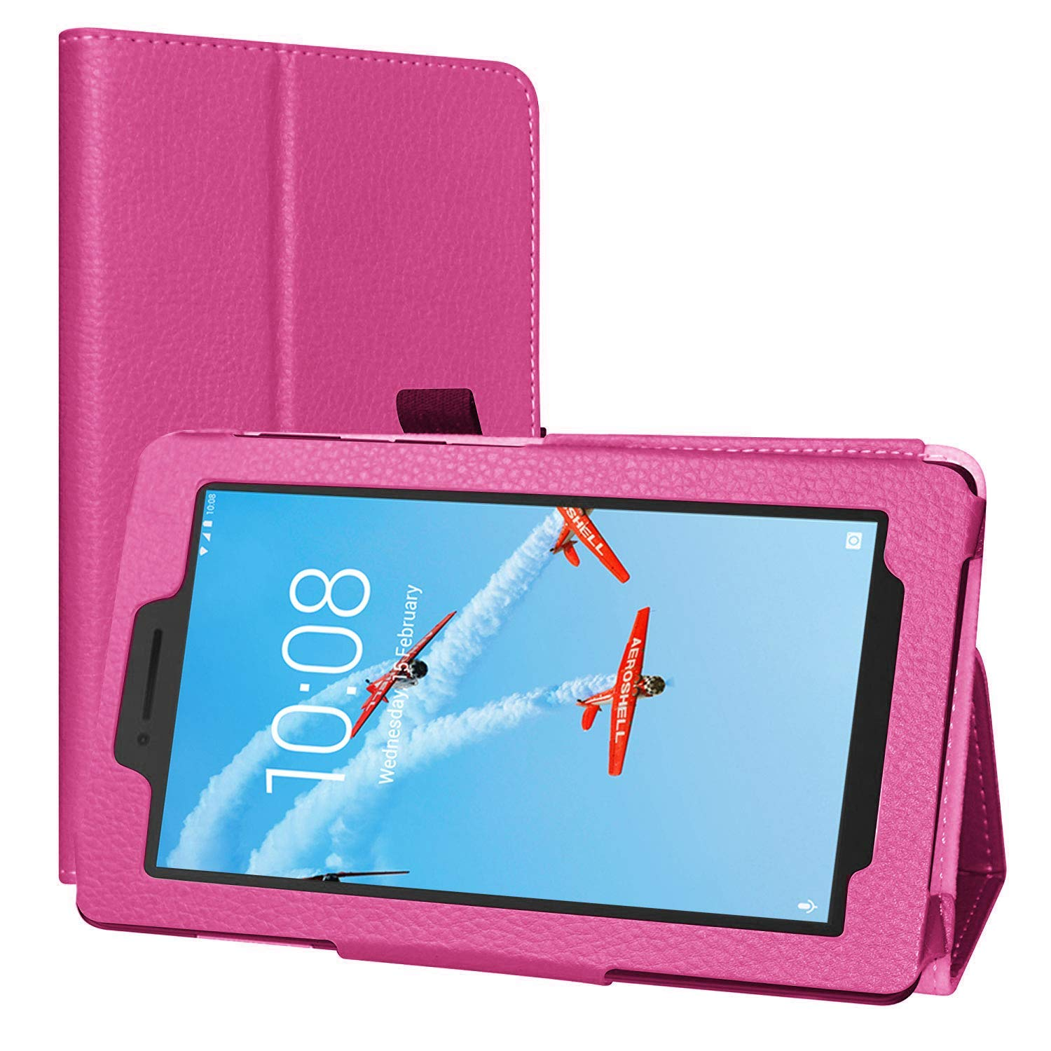 Lenovo Tab E7 Case, EpicGadget Lightweight Cover Folio PU Leather Folding Stand Case for Lenovo E7 7 Inch Tablet 2018 (Pink)