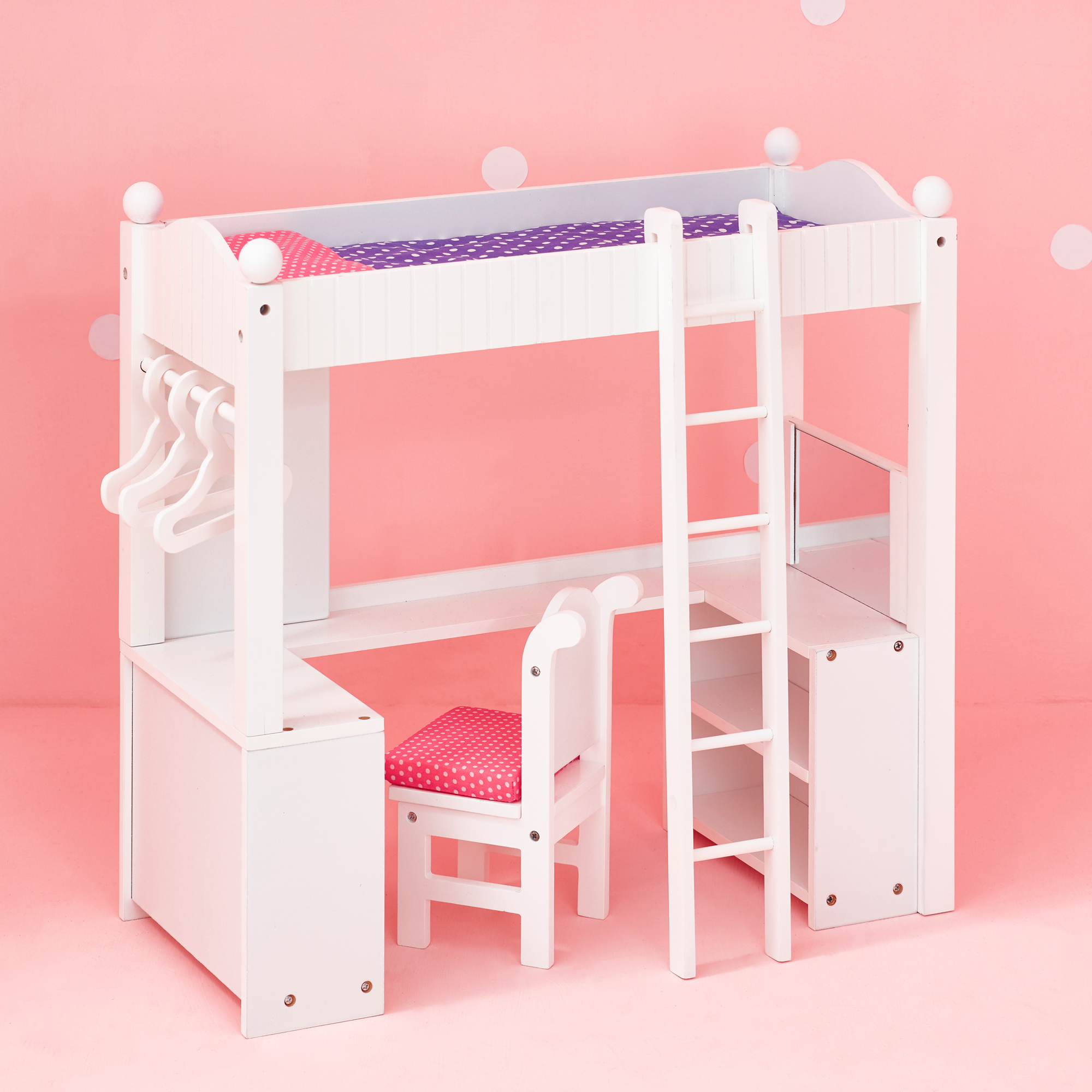Olivia's Little World Princess College Dorm Double Bunk Desk (Grey Polka Dots) Wooden 18 inch Doll Furniture by Teamson