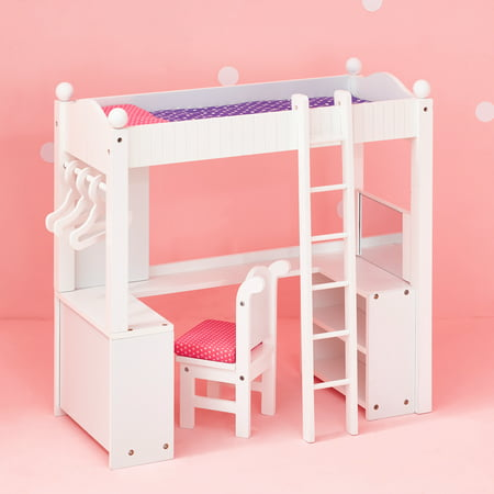 Olivias Little World   Princess College Dorm Double Bunk Desk  Grey Polka Dots  Wooden 18 Inch Doll Furniture