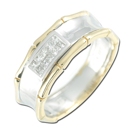14K Two Tone Gold 0.23ct Central Invisible Set Princess Diamond Men's Ring