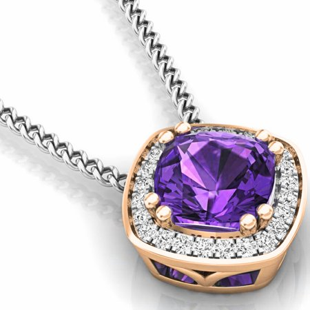 Dazzlingrock Collection 14K Cushion Cut Amethyst And Round Cut Rose Diamond Ladies Halo Style Pendant (Silver Chain Included), Rose Gold
