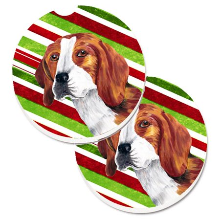 Beagle Candy Cane Holiday Christmas Set of 2 Cup Holder Car Coaster - image 1 de 1
