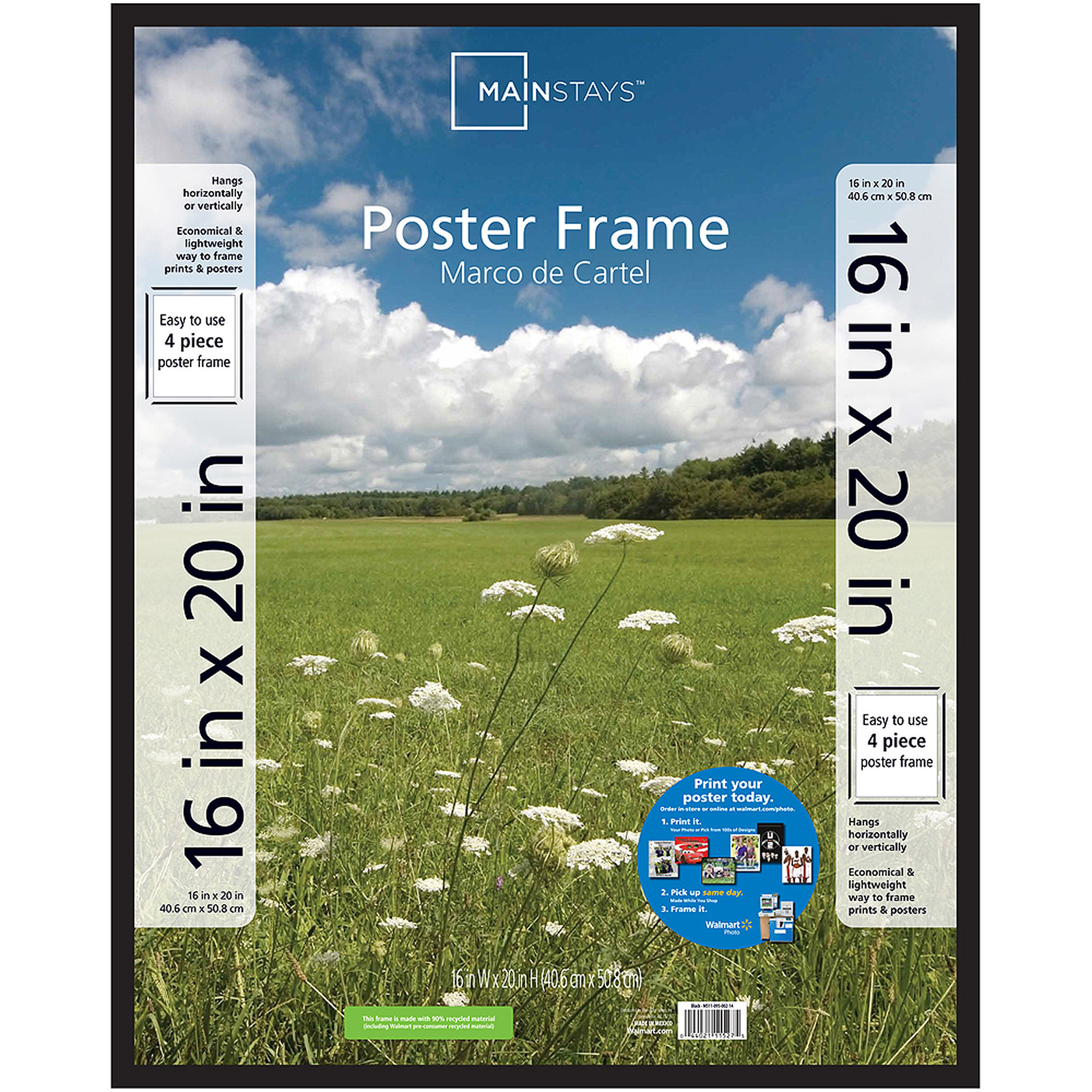 Mainstays 16x20 Basic Poster and Picture Frame, Black by MCS Industries, Inc.
