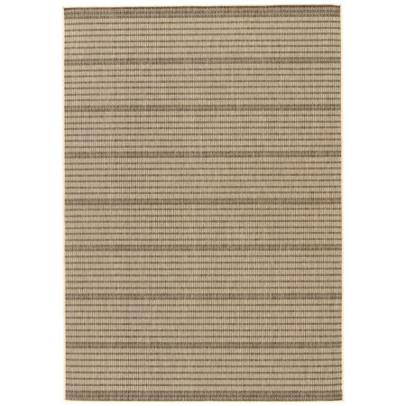 Image of 5' x 7.5' Gray and Beige Striped Outdoor Rectangular Area Throw Rug