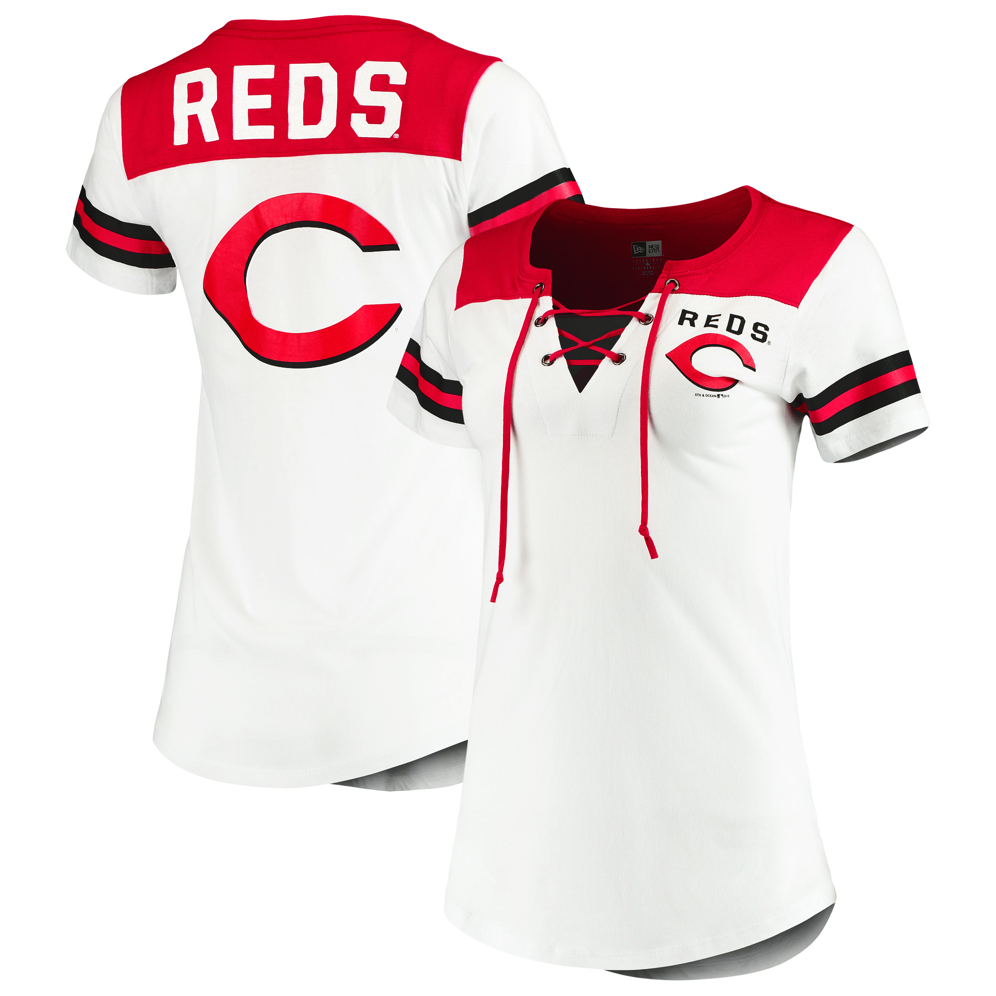 Cincinnati Reds 5th & Ocean by New Era Women's Baby Jersey Lace-Up V-Neck T-Shirt - White/Red