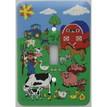Animal Farm Cover (Animal Farm Light Switch Plate Cover / Farm Animal Nursery Decor with Barn Animals including Cows, Horse, Goat, Pigs, Ducks, Chickens, Sheep, Tractor, Barn, and)