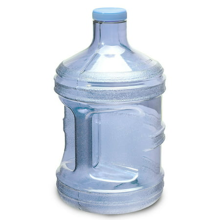 1 Gallon BPA FREE Reusable Plastic Drinking Water Big Mouth Bottle Jug Container with Holder Drinking Canteen - Light