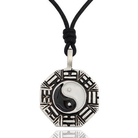 Stylist Ying Yang Feng Shui Silver Pewter Charm Necklace Pendant Jewelry With Cotton Cord