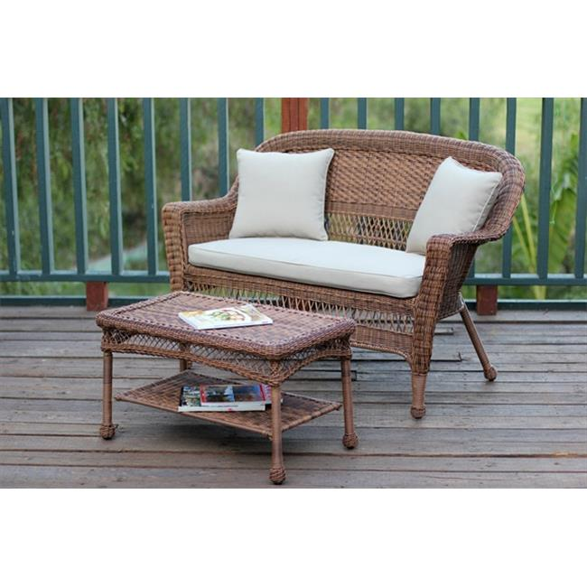 Jeco W00205-LCS006 Honey Wicker Patio Love Seat And Coffee Table Set With Tan Cushion