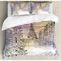 Ambesonne Winter Image of Stormy Day in Paris Streets Eiffel Tower Europe Scene Duvet Cover Set