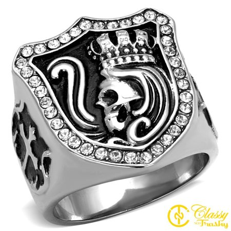Classy Not Trashy® King Crown Skull Design Clear Crystal Stainless Steel Men's Ring Size 11 ()