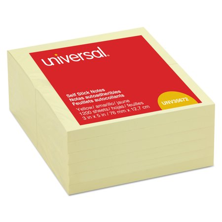 Universal Self-Stick Note Pads, 3 x 5, Yellow, 100-Sheet, 12/Pack -UNV35672 (Notes Notepad)