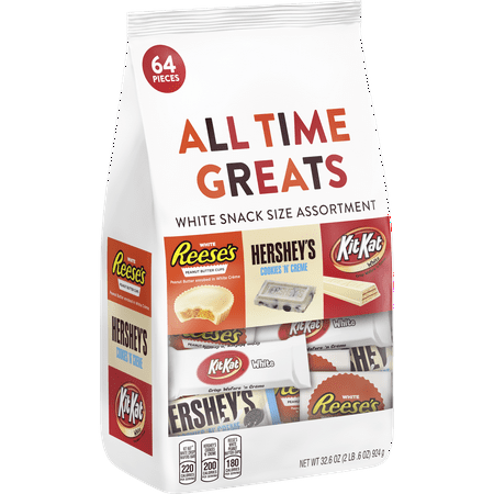 Hersheys, All Time Greats White Crème Snack Size Candy Assortment, 64 Pieces, 32.5 Oz