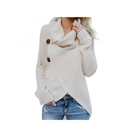Stretch Knit Wrap Top - Nicesee Womens Turtleneck Warm Knit Sweater Loose Wrap Pullover Top