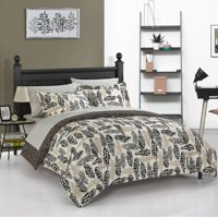 Heritage Club Wild Fauna Metallic Feathers & Animal Print Bed in a Bag Bedding Set w/ Reversible Comforter
