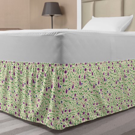 Floral Bed Skirt, Jumble Tulip Garden and Leaves Yard Flowering Botanical Flourish Pattern, Elastic Bedskirt Dust Ruffle Wrap Around for Bedding Decor, 4 Sizes, Purple Green and Cream, by Ambesonne