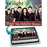 Twilight Edible Cake Topper Personalized Birthday 1/4 Sheet Decoration Custom Sheet Party Birthday Sugar Frosting Transfer Fondant Image for cake (Custom Cake Topper)