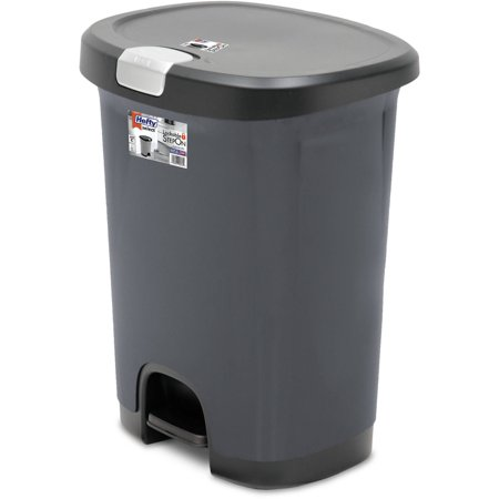 hefty 7 gallon textured step on waste can with lid lock and bottom cap. Black Bedroom Furniture Sets. Home Design Ideas