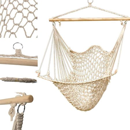 UBesGoo Outdoor Hanging Swing Cotton Hammock Chair Sky Chair Solid Rope Yard Patio Porch Garden