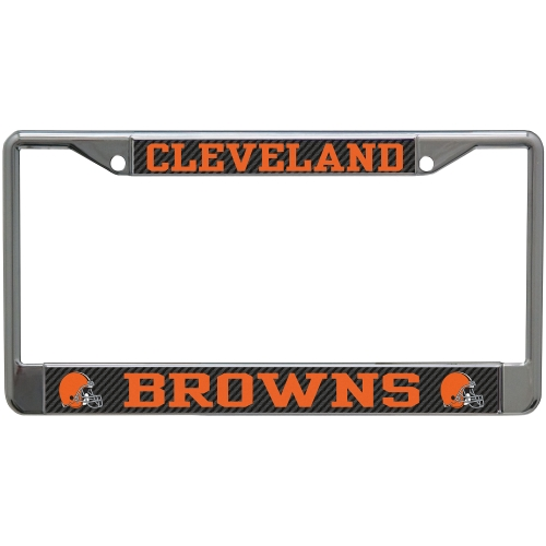 Cleveland Browns Carbon Small Over Large Metal Acrylic Cut License Plate Frame - No Size