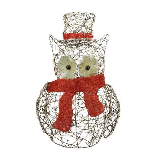 Northlight Seasonal Lighted Glitter Rattan Owl Christmas Yard Art Decoration