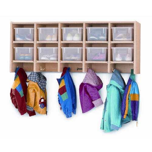 MapleWave Large Wall Mount Coat Locker (Clear Trays)