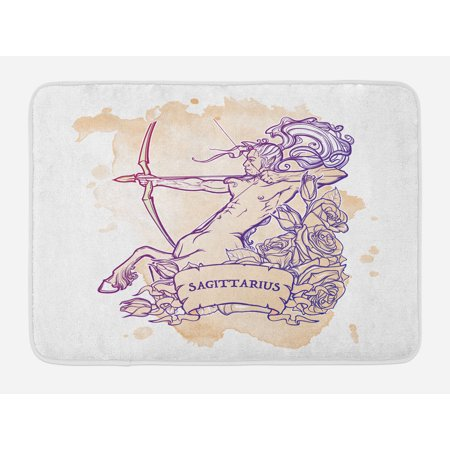 Zodiac Sagittarius Bath Mat, Roses and Long Haired Centaur Archer on Stained Grunge Background, Non-Slip Plush Mat Bathroom Kitchen Laundry Room Decor, 29.5 X 17.5 Inches, Beige and Purple, Ambesonne
