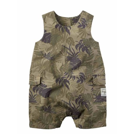 - Carters Infant Boys Green Sleeveless Hawaiian Leaf Romper