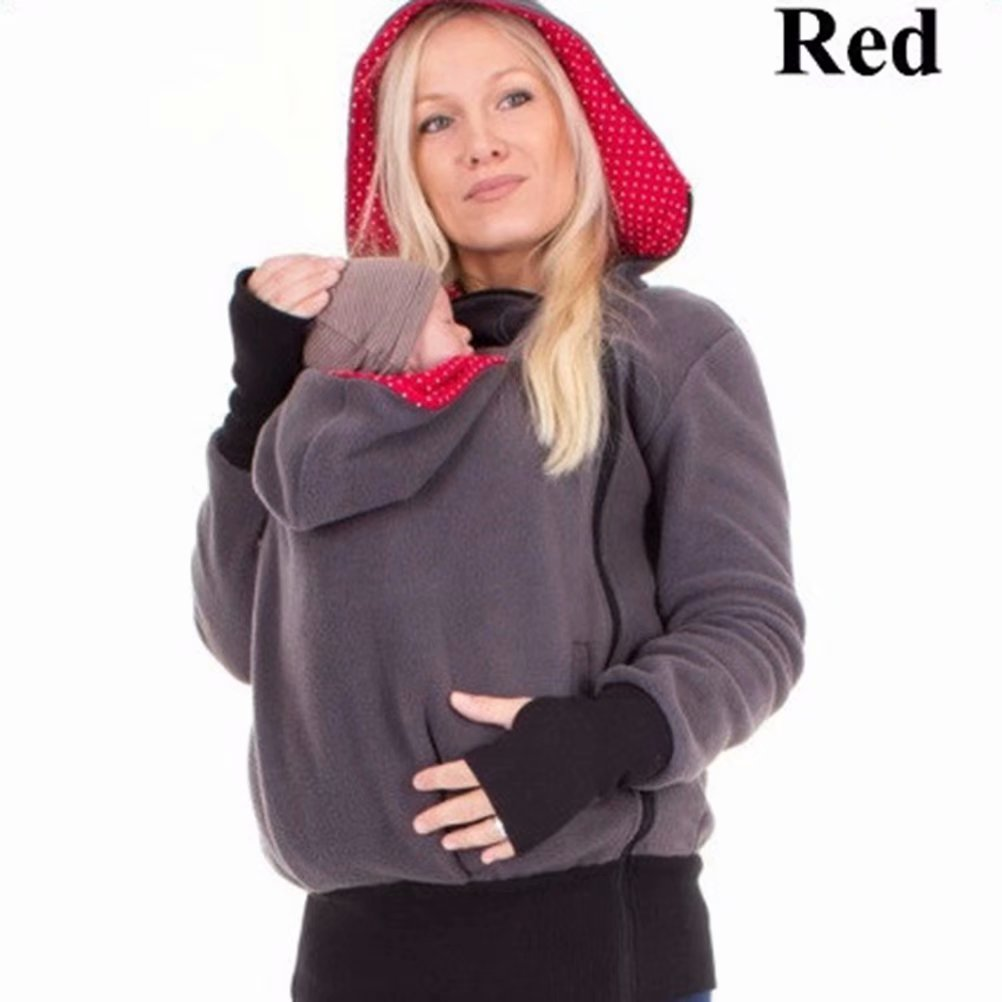 Akoyovwerve Women Pregnant Maternity Kangaroo Hooded Sweatshirt Nursing Breastfeeding Tops Blouse for Baby Carriers, Red