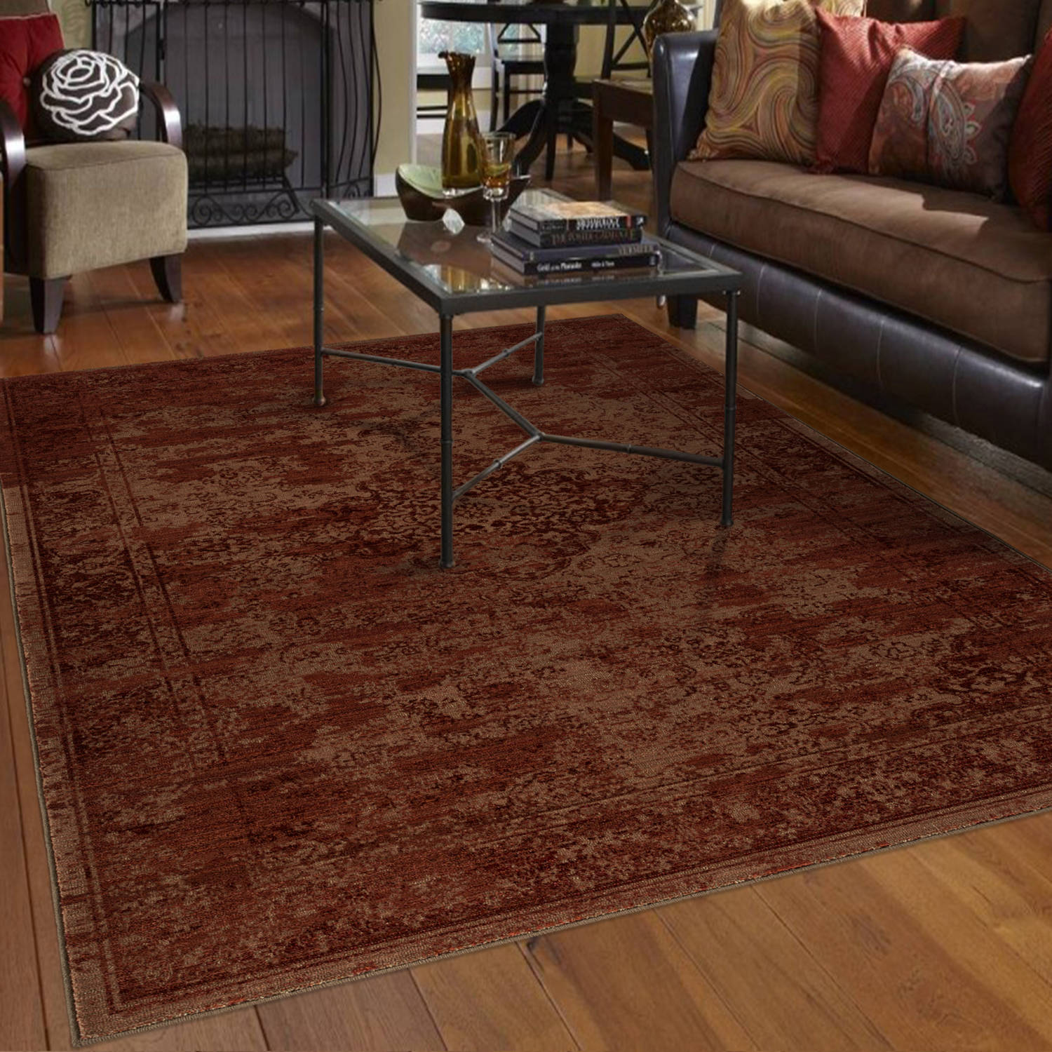 Orian Rugs Faded Damask Traditional Red Area Rug by Orian Rugs Inc