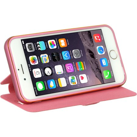 Insten With Removable Bumper Book-Style Leather Fabric Case w/stand for Apple iPhone 6 / 6s - Hot Pink - image 4 of 5