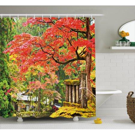 Japanese Shower Curtain Autumn Scenery With Sakura Tree Cherry Blooms In Nikko Provinence Japan