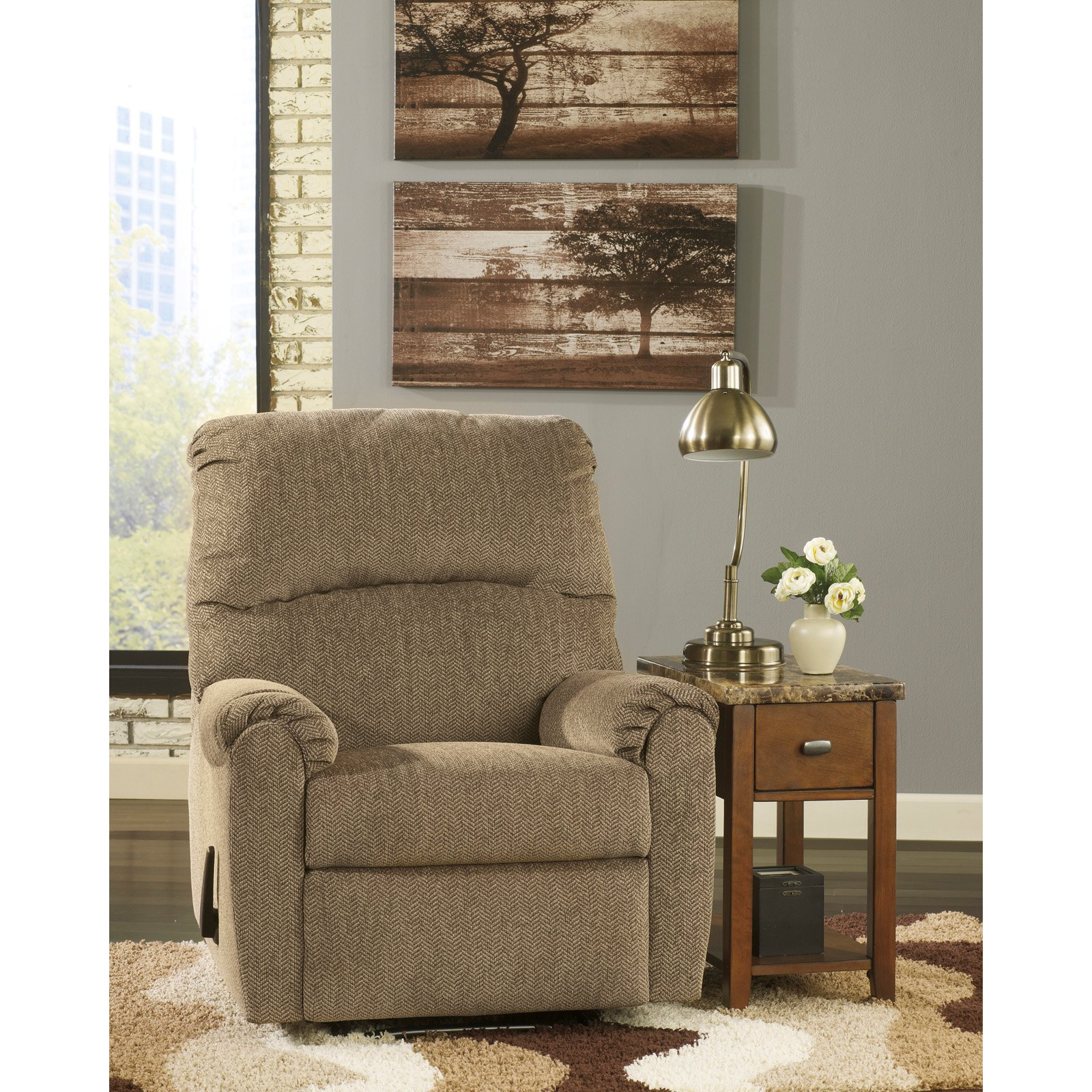 Flash Furniture Signature Design by Ashley Pranit Wall Hugger Recliner in Cork Chenille