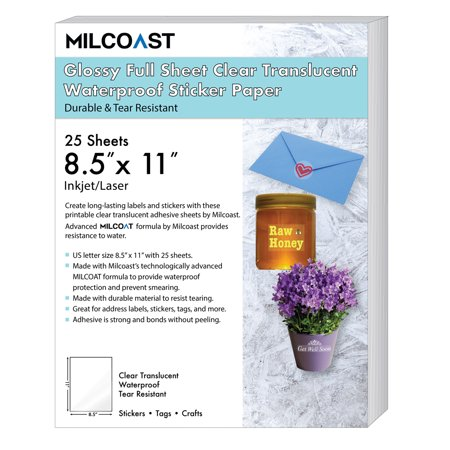 """Milcoast Glossy Full Sheet 8.5"""" x 11"""" Clear Translucent Waterproof Adhesive Sticker Paper Labels"""
