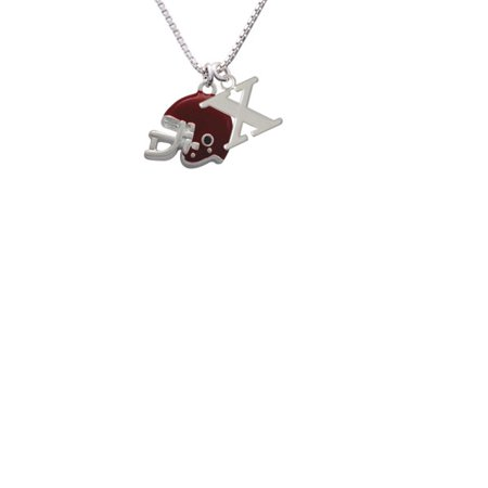 Silvertone Small Maroon Football Helmet Capital Initial X Necklace - Small Football Helmets