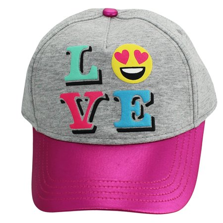 Girls Emoji Hat LOVE Youth Baseball Hat Kids Adjustable Sun Hat Pink Grey Fits Girls 4-14