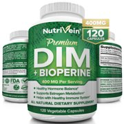 Nutrivein DIM Supplement 400mg Diindolylmethane Plus Bioperine - Maintain Hormone Balance with Estrogen, Progesterone and Testosterone for Menopause - Supports Acne and PCOS Treatment Men & Women