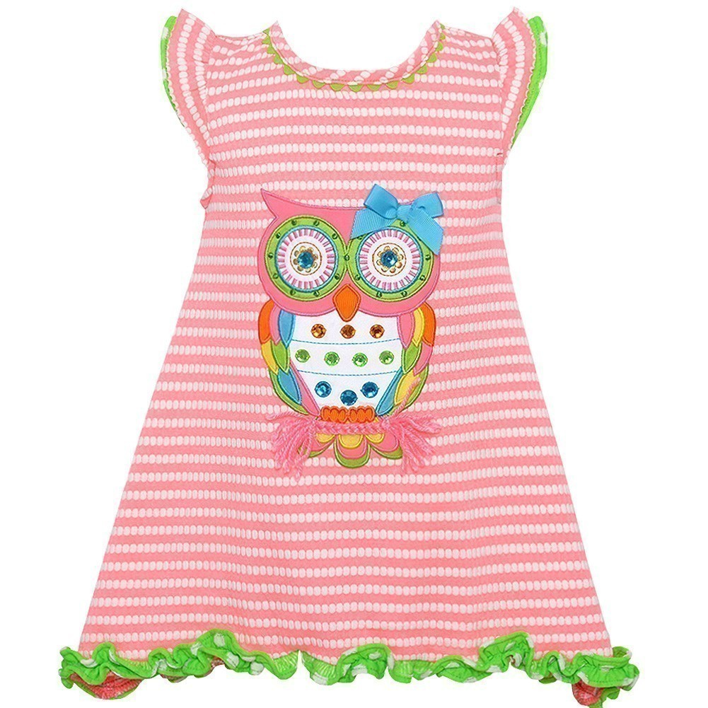 Counting Daisies Little Girls Coral Textured Owl Applique Trimmed Dress 2T