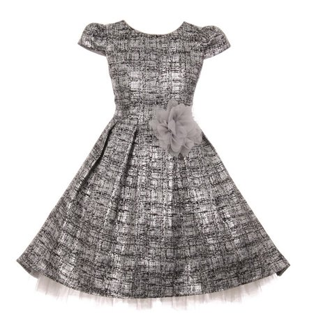 Kids Dream Girls Silver Melange Flower Adorned Shiny Christmas Dress - Kids Christmas Dresses