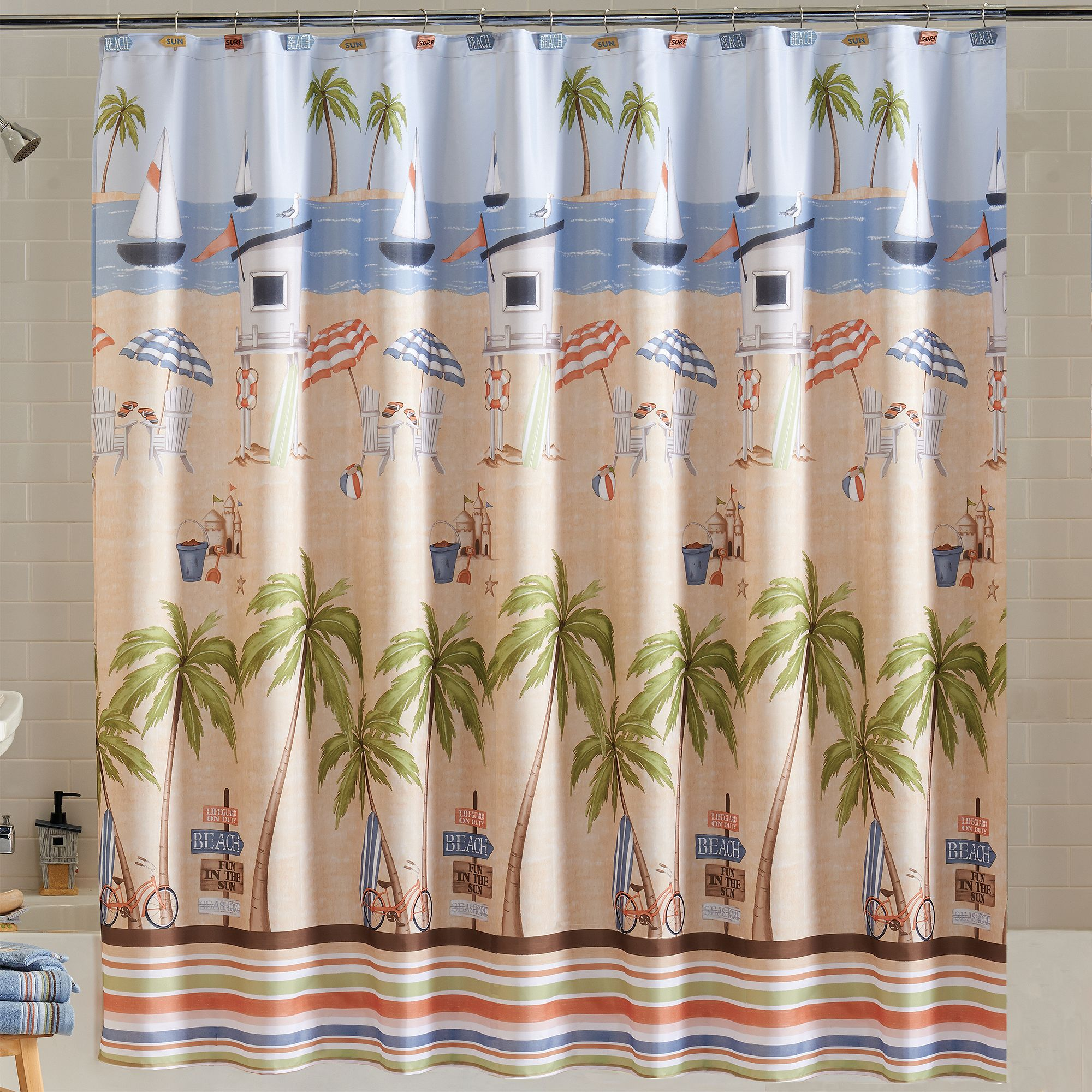 Mint green shower curtain and rugs - Mainstays Catching Rays Fabric Shower Curtain