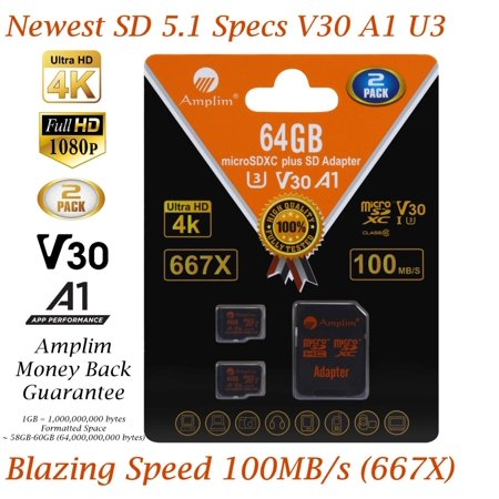 2 Pack 64GB Micro SD Card plus Adapter. Amplim 100MB/s MicroSDXC Card V30 A1 U3 Class 10 MicroSD Memory Card for GoPro, Cell Phones, Samsung Galaxy, LG, Sony Xperia, DJI, Drones, Cameras, Nintendo Samsung Camera Memory