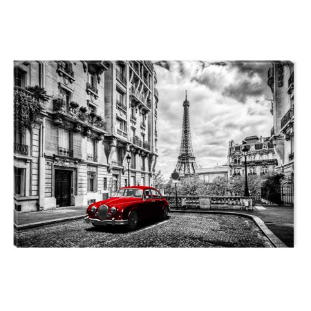 Startonight Canvas Wall Art Black And White Abstract Red Car In Paris Dual View Surprise Artwork Modern Framed Ready To Hang Wall Art 100 Original