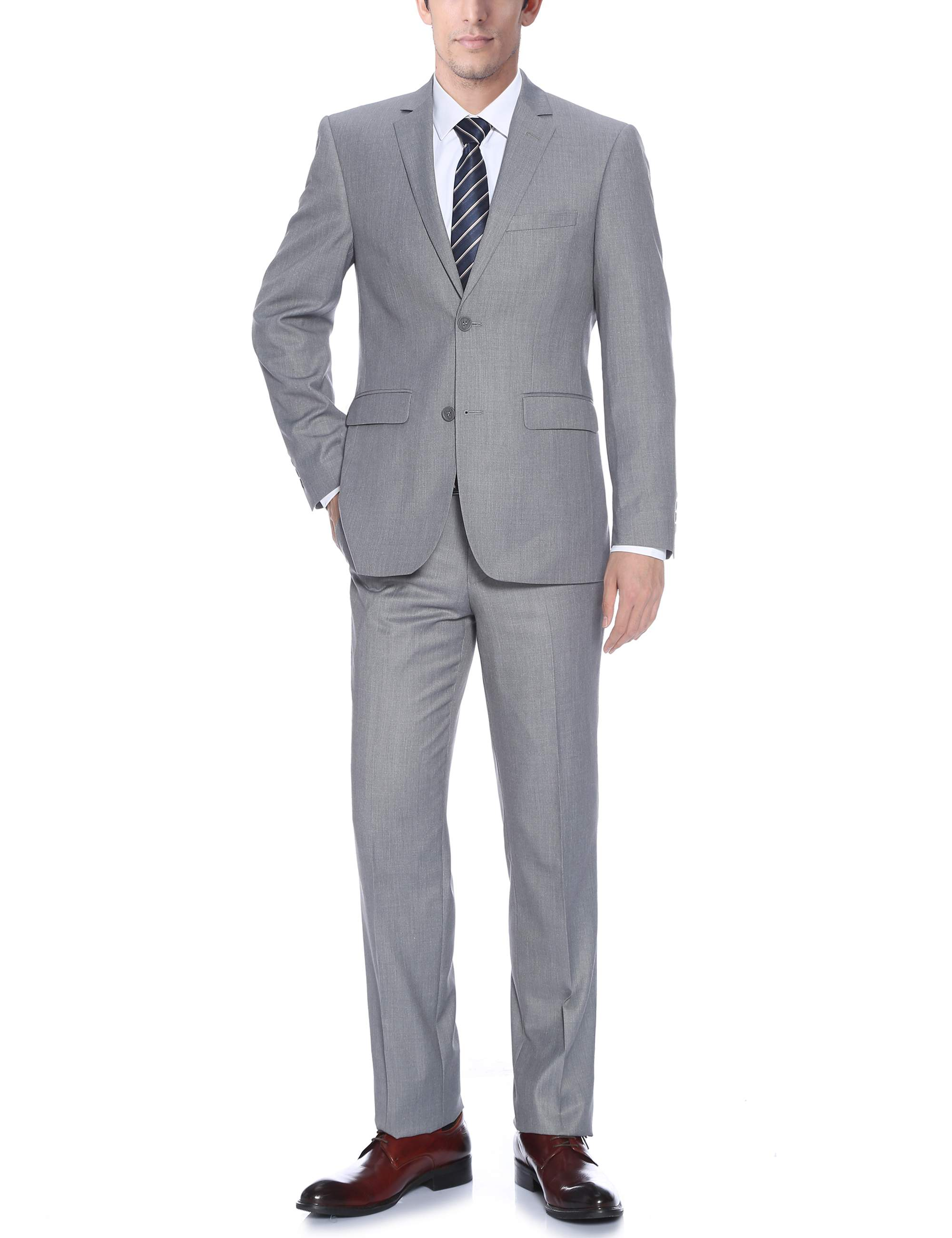 Bellomi Men's Light Grey Classic Fit Italian Styled Two Piece Suit