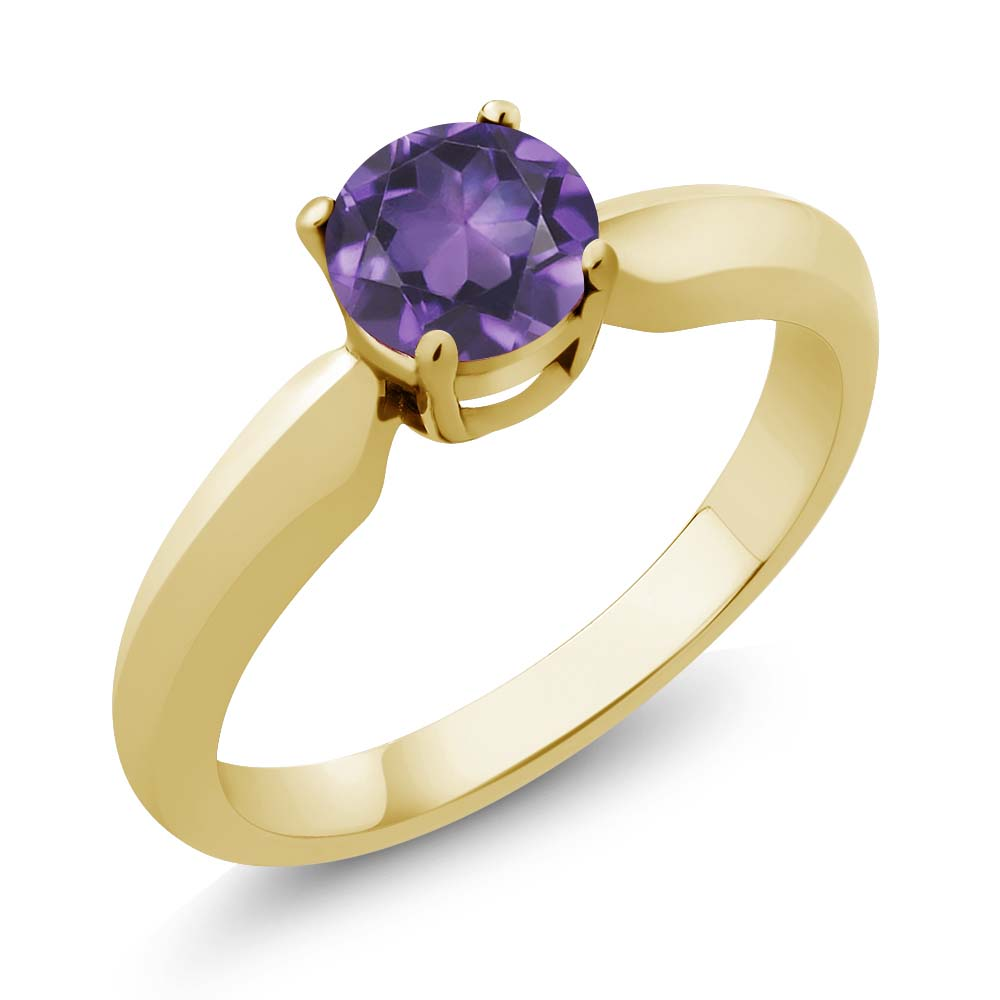 0.45 Ct Round Purple Amethyst Yellow Gold Plated Sterling Silver Ring