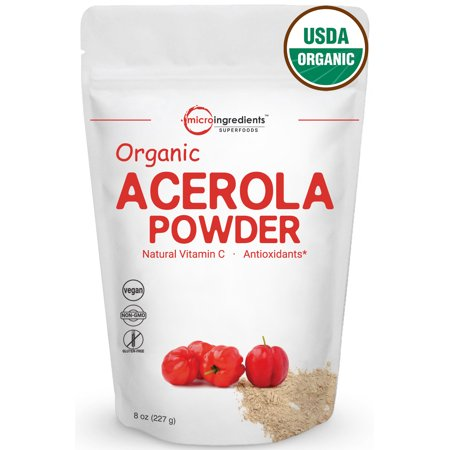Micro Ingredients Acerola Cherries Organic Vitamin C Powder , 8oz, Rich in Natural Vitamin C
