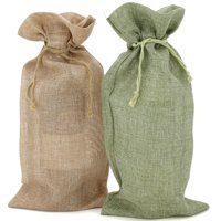 "10 Wine Burlap Bags Holiday Fabric Gift Wine Bags Goody Pouches Party Gift Bags Extra Large 15"" by 6.5"" in Tan and Sage Green"